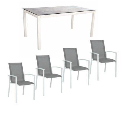"""Stern Gartenmöbel-Set """"Evoee"""", Gestelle Aluminium weiß, Sitzfläche Textilgewebe silberfarben, Tischplatte HPL"""