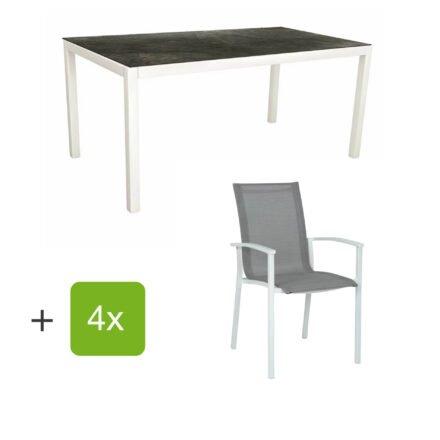 """Stern Gartenmöbel-Set """"Evoee"""", Gestelle Aluminium weiß, Sitzfläche Textilgewebe silberfarben, Tischplatte HPL Dark Marble"""