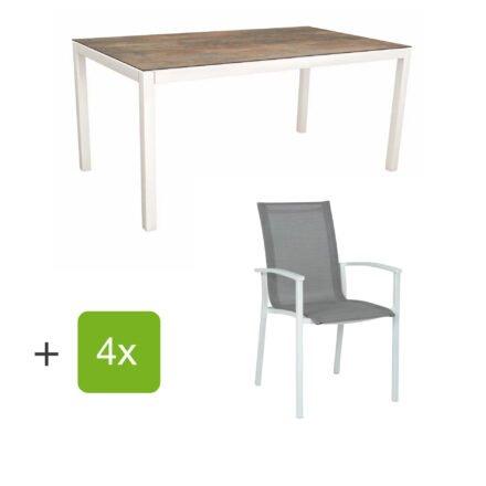 """Stern Gartenmöbel-Set """"Evoee"""", Gestelle Aluminium weiß, Sitzfläche Textilgewebe silberfarben, Tischplatte HPL Ferro"""