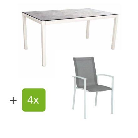 """Stern Gartenmöbel-Set """"Evoee"""", Gestelle Aluminium weiß, Sitzfläche Textilgewebe silberfarben, Tischplatte HPL Metallic Grau"""