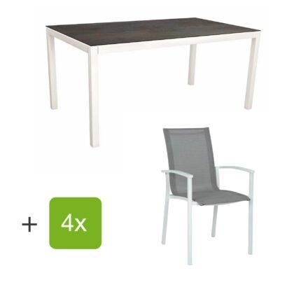 """Stern Gartenmöbel-Set """"Evoee"""", Gestelle Aluminium weiß, Sitzfläche Textilgewebe silberfarben, Tischplatte HPL Nitro"""