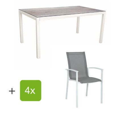 """Stern Gartenmöbel-Set """"Evoee"""", Gestelle Aluminium weiß, Sitzfläche Textilgewebe silberfarben, Tischplatte HPL Smoky"""