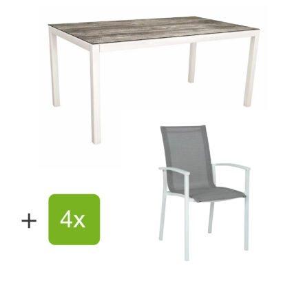 "Stern Gartenmöbel-Set ""Evoee"", Gestelle Aluminium weiß, Sitzfläche Textilgewebe silberfarben, Tischplatte HPL Tundra Grau"