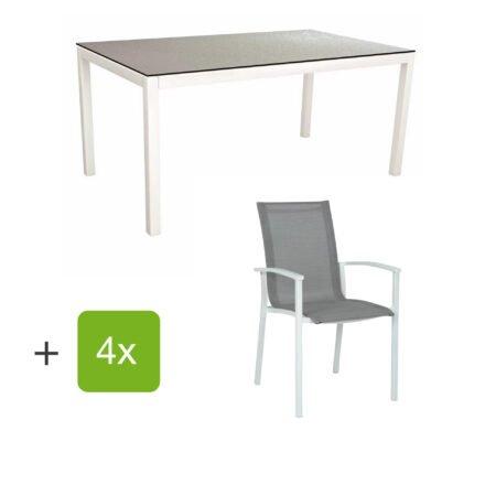 """Stern Gartenmöbel-Set """"Evoee"""", Gestelle Aluminium weiß, Sitzfläche Textilgewebe silberfarben, Tischplatte HPL Uni Grau"""