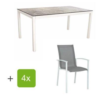 """Stern Gartenmöbel-Set """"Evoee"""", Gestelle Aluminium weiß, Sitzfläche Textilgewebe silberfarben, Tischplatte HPL Vintage Stone"""