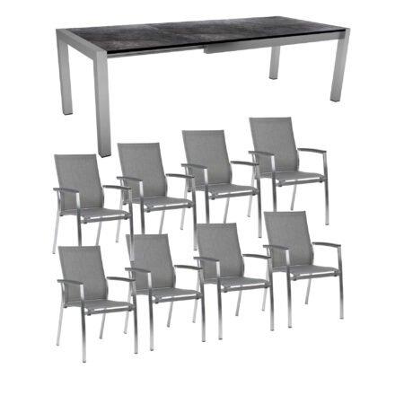 """Stern Gartenmöbel-Set mit Stuhl """"Mika"""" und Ausziehtisch Edelstahl/HPL"""