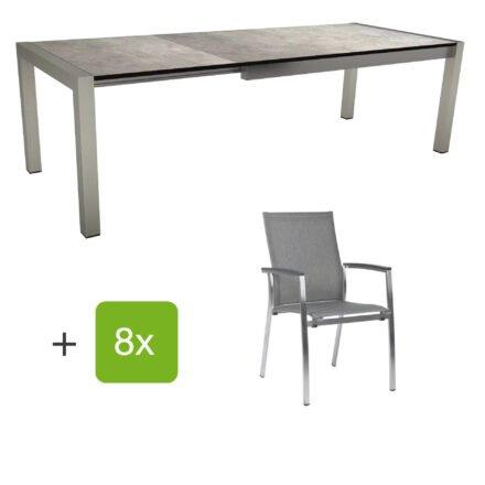 """Stern Gartenmöbel-Set mit Stuhl """"Mika"""" und Ausziehtisch, Gestelle Edelstahl, Tischplatte HPL Metallic grau"""