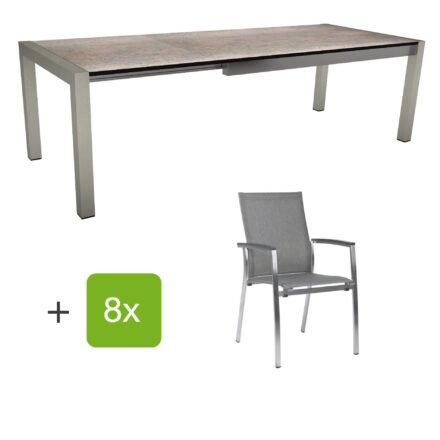 """Stern Gartenmöbel-Set mit Stuhl """"Mika"""" und Ausziehtisch, Gestelle Edelstahl, Tischplatte HPL Smoky"""