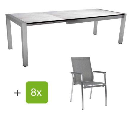 """Stern Gartenmöbel-Set mit Stuhl """"Mika"""" und Ausziehtisch, Gestelle Edelstahl, Tischplatte HPL Zement hell"""