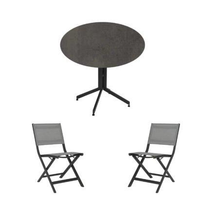 """Stern Bistro-Set mit Klappstuhl """"Nils"""" und Bistrotisch rund 80cm, Gestelle Aluminium anthrazit, Tischplatte HPL Smoky"""