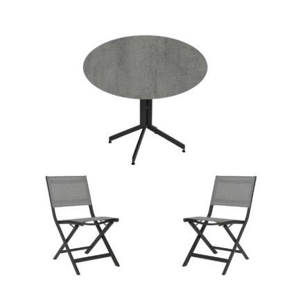 """Stern Bistro-Set mit Klappstuhl """"Nils"""" und Bistrotisch rund 80cm, Gestelle Aluminium anthrazit, Tischplatte HPL Zement"""