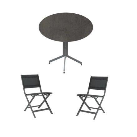 """Stern Bistro-Set mit Klappstuhl """"Nils"""" und Bistrotisch rund 80cm, Gestelle Aluminium graphit, Tischplatte HPL Smoky"""