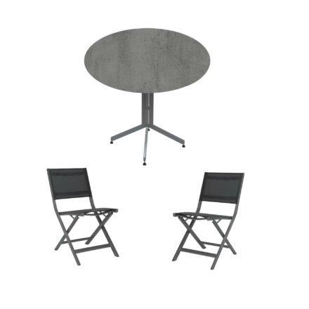 """Stern Bistro-Set mit Klappstuhl """"Nils"""" und Bistrotisch rund 80cm, Gestelle Aluminium graphit, Tischplatte HPL Zement"""