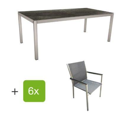 """Stern Gartenmöbel-Set mit Stuhl """"Polaris"""", Textilgewebe karbon, Armlehnen Alu schwarz und Gartentisch 200x100 cm, Gestelle Edelstahl, Tischplatte HPL Dark Marble"""