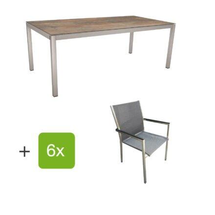 """Stern Gartenmöbel-Set mit Stuhl """"Polaris"""", Textilgewebe karbon, Armlehnen Alu schwarz und Gartentisch 200x100 cm, Gestelle Edelstahl, Tischplatte HPL Ferro"""