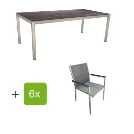 """Stern Gartenmöbel-Set mit Stuhl """"Polaris"""", Textilgewebe karbon, Armlehnen Alu schwarz und Gartentisch 200x100 cm, Gestelle Edelstahl, Tischplatte HPL Vintage grau"""