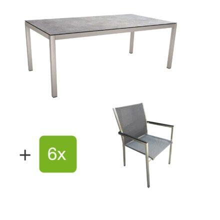 """Stern Gartenmöbel-Set mit Stuhl """"Polaris"""", Textilgewebe karbon, Armlehnen Alu schwarz und Gartentisch 200x100 cm, Gestelle Edelstahl, Tischplatte HPL Metallic grau"""