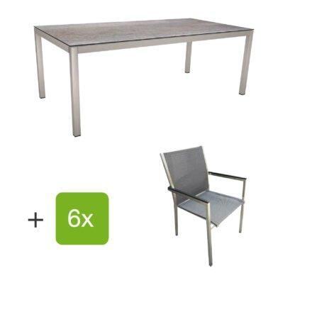 """Stern Gartenmöbel-Set mit Stuhl """"Polaris"""", Textilgewebe karbon, Armlehnen Alu schwarz und Gartentisch 200x100 cm, Gestelle Edelstahl, Tischplatte HPL Smoky"""