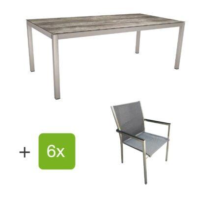 """Stern Gartenmöbel-Set mit Stuhl """"Polaris"""", Textilgewebe karbon, Armlehnen Alu schwarz und Gartentisch 200x100 cm, Gestelle Edelstahl, Tischplatte HPL Tundra grau"""