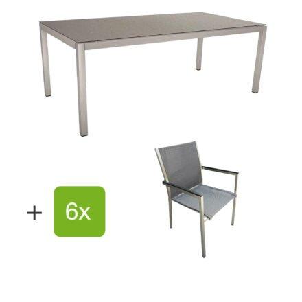 """Stern Gartenmöbel-Set mit Stuhl """"Polaris"""", Textilgewebe karbon, Armlehnen Alu schwarz und Gartentisch 200x100 cm, Gestelle Edelstahl, Tischplatte HPL Uni grau"""