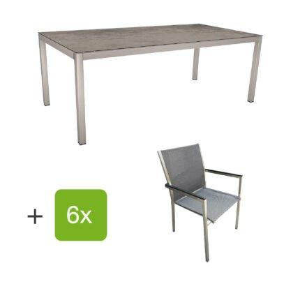 """Stern Gartenmöbel-Set mit Stuhl """"Polaris"""", Textilgewebe karbon, Armlehnen Alu schwarz und Gartentisch 200x100 cm, Gestelle Edelstahl, Tischplatte HPL Zement"""