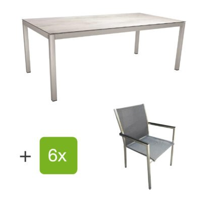 """Stern Gartenmöbel-Set mit Stuhl """"Polaris"""", Textilgewebe karbon, Armlehnen Alu schwarz und Gartentisch 200x100 cm, Gestelle Edelstahl, Tischplatte HPL Zement hell"""