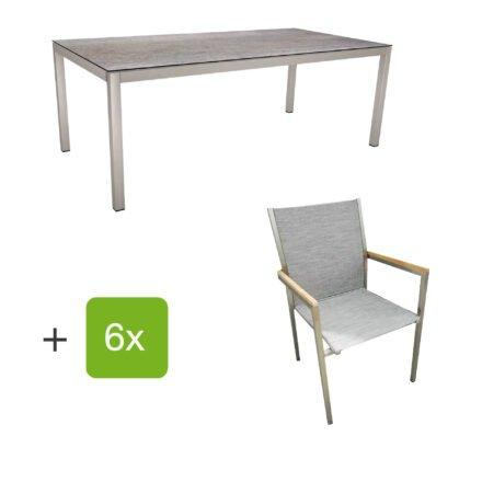 """Stern Gartenmöbel-Set mit Stuhl """"Polaris"""", Textilgewebe kaschmir, Armlehnen Teak und Gartentisch 200x100 cm, Gestelle Edelstahl, Tischplatte HPL Smoky"""