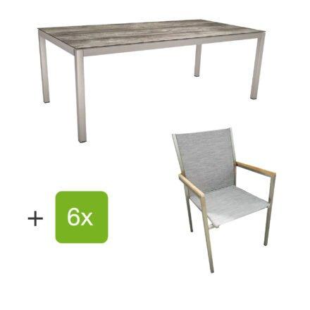 """Stern Gartenmöbel-Set mit Stuhl """"Polaris"""", Textilgewebe kaschmir, Armlehnen Teak und Gartentisch 200x100 cm, Gestelle Edelstahl, Tischplatte HPL Tundra grau"""