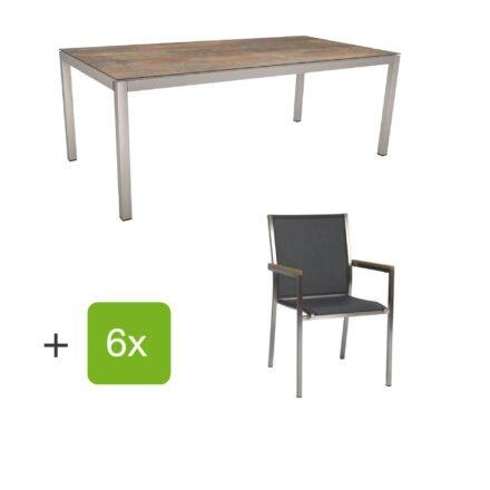 """Stern Gartenmöbel-Set mit Stuhl """"Polaris"""", Textilgewebe silbergrau, Armlehnen teak und Gartentisch 200x100 cm, Gestelle Edelstahl, Tischplatte HPL Ferro"""