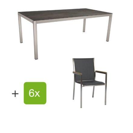 """Stern Gartenmöbel-Set mit Stuhl """"Polaris"""", Textilgewebe silbergrau, Armlehnen teak und Gartentisch 200x100 cm, Gestelle Edelstahl, Tischplatte HPL Nitro"""