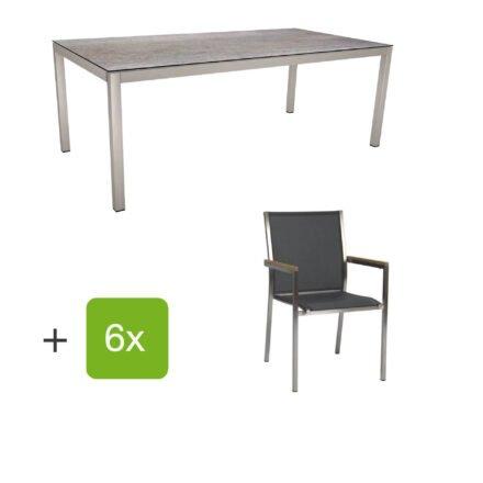 """Stern Gartenmöbel-Set mit Stuhl """"Polaris"""", Textilgewebe silbergrau, Armlehnen teak und Gartentisch 200x100 cm, Gestelle Edelstahl, Tischplatte HPL Smoky"""