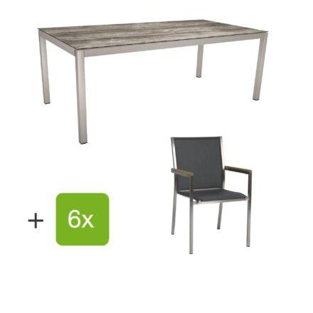 """Stern Gartenmöbel-Set mit Stuhl """"Polaris"""", Textilgewebe silbergrau, Armlehnen teak und Gartentisch 200x100 cm, Gestelle Edelstahl, Tischplatte HPL Tundra grau"""