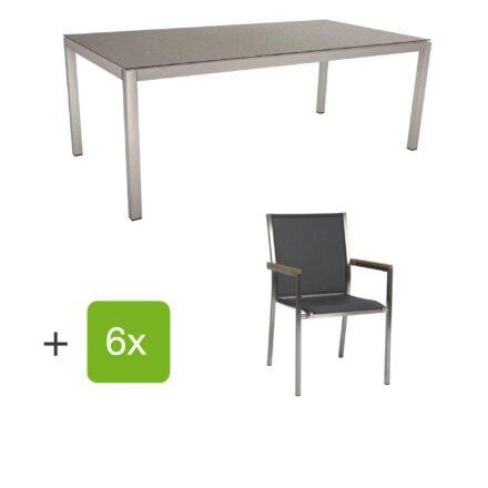 """Stern Gartenmöbel-Set mit Stuhl """"Polaris"""", Textilgewebe silbergrau, Armlehnen teak und Gartentisch 200x100 cm, Gestelle Edelstahl, Tischplatte HPL Uni grau"""