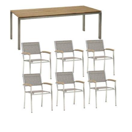 """4Seasons Outdoor Gartenmöbel-Set mit Stuhl """"Nexxt"""", Textilgewebe mocca, und Tisch """"Goa"""""""