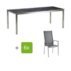 """Diamond Garden Gartenmöbel-Set mit Hochlehner """"Gaco"""" und Tisch 200x100cm """"San Marino"""", Gestelle Edelstahl, Tischplatte HPL Granit dunkel"""