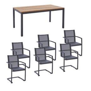 """Diamond Garden Gartenmöbel-Set mit Tisch """"Ravenna"""" und Freischwinger """"Valencia"""", Edelstahl anthrazit, Tischplatte Teak, Armlehnen Alu"""
