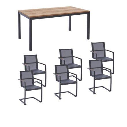 """Diamond Garden Gartenmöbel-Set mit Tisch """"Ravenna"""" und Freischwinger """"Valencia"""", Edelstahl anthrazit, Tischplatte Teak, Armlehnen Teak"""