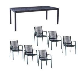 """Diamond Garden Gartenmöbel-Set mit Stapelstuhl Rope """"Valencia"""" und Tisch 200x100cm """"San Marino"""", Gestelle Edelstahl dunkelgrau, Tischplatte HPL Schiefer"""