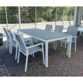 """Jati & Kebon Gartenmöbel-Set """"Nashville/Lugo"""", Gestelle Aluminium weiß, Tischplatte Glas taupe, Sitzfläche Textilgewebe hellgrau"""