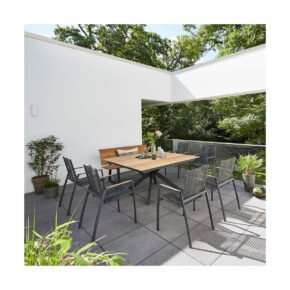 "Diamond Garden Gartentisch ""Lyon"", Edelstahl dunkelgrau, Tischplatte Teakholz recycelt Fase 4 Planken, Gartenbank ""Pisa"" Edelstahl dunkelgrau, Gartenstuhl ""Valencia"" Rope grau"