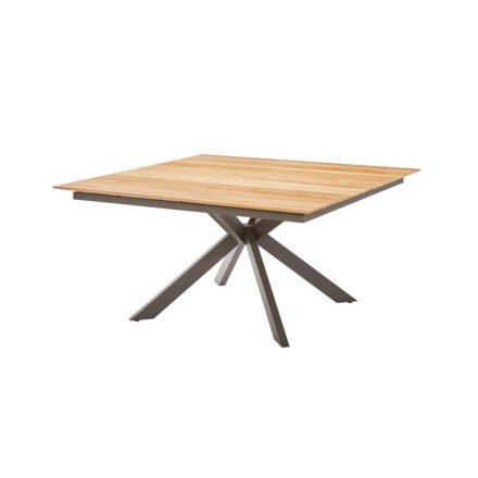"Diamond Garden Gartentisch ""Lyon"", Edelstahl dunkelgrau, Tischplatte Teakholz recycelt, Fase, 4 Planken"
