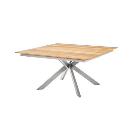 """Diamond Garden Gartentisch """"Lyon"""", Edelstahl gebürstet, Tischplatte Teakholz recycelt, Fase, 4 Planken"""