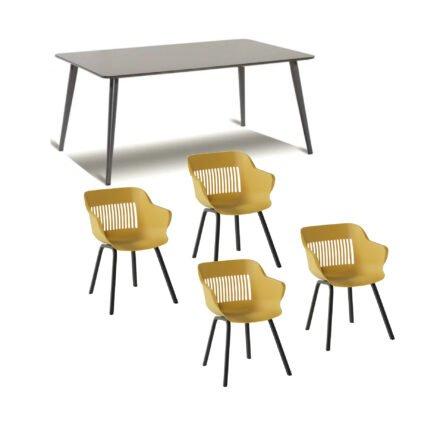 """Hartman Gartenmöbel-Set mit Stuhl """"Jill"""", Farbe curry, und Gartentisch 170x100 cm """"Sophie Studio"""", Alu xerix, Tischplatte HPL xerix"""