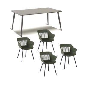 """Hartman Gartenmöbel-Set mit Stuhl """"Jill"""", Farbe moosgrün, und Gartentisch 170x100 cm """"Sophie Studio"""", Alu xerix, Tischplatte HPL anthrazit"""