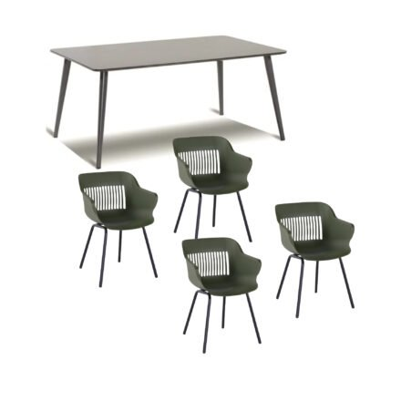 "Hartman Gartenmöbel-Set mit Stuhl ""Jill"", Farbe moosgrün, und Gartentisch 170x100 cm ""Sophie Studio"", Alu xerix, Tischplatte HPL xerix"
