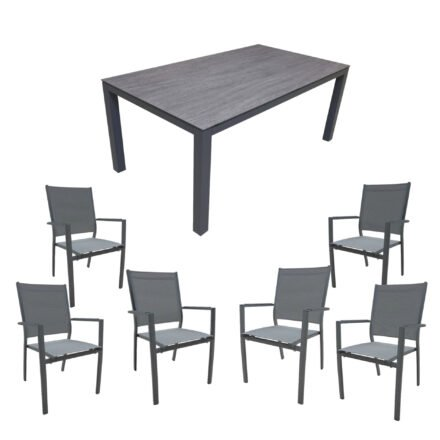 "Home Islands Gartenmöbel-Set mit Tisch ""Dayann"" & Stapelsessel ""Yuri"", Gestelle Aluminium charcoal, Tischplatte HPL dark grey, Textilgewebe silver black"