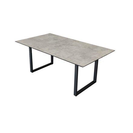 "Jati&Kebon ""Rao"" Dining-Loungetisch, Gestell Aluminum eisengrau, Tischplatte HPL Granit hellgrau, 160x90x65 cm"