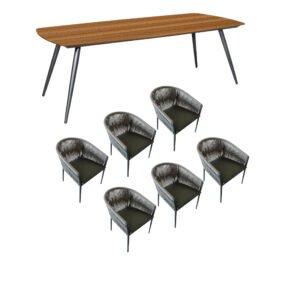 """Jati&Kebon Gartenmöbel-Set mit Tisch """"Amazone"""" und Diningsessel """"Fortuna"""", Aluminium eisengrau, Tischplatte Teak"""