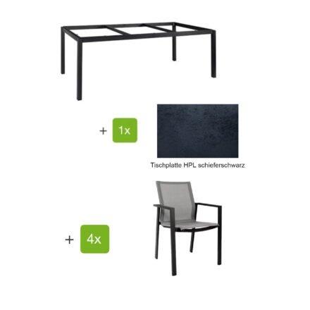 """Jati&Kebon Gartenmöbel-Set mit Stuhl """"Beja"""" und Tisch 160x90 cm """"Lugo"""", Alu anthrazit, Tischplatte HPL schieferschwarz"""