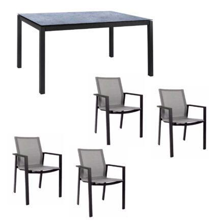 """Jati&Kebon Gartenmöbel-Set mit Stuhl """"Beja"""" und Tisch """"Lugo"""", Alu anthrazit, Tischplatte HPL Zementgrau"""